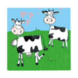 Two cows in love line drawn illustration by Sarah Starr