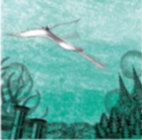 Green sea scape illustration with digital embellishment and colour by Sarah Starr