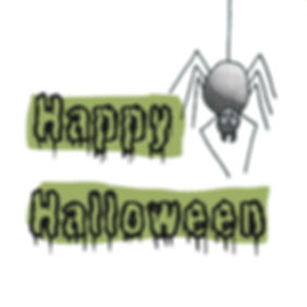 Happy Halloween spider illustration digital collage and colour by Sarah Starr