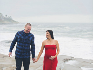 Maternity Session on the Beach with a Pop of Color!