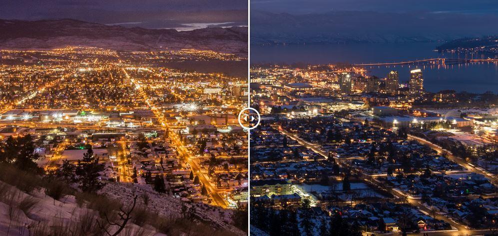 Poluiçao luminosa cidade de Kelowna no Canadá antes e depois