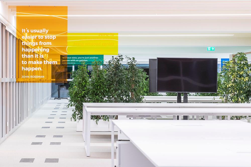 Iluminaçao Tromilux nos escritórios da Bizay em Lisboa projeto da Paralelo Zero arquitetura linhas continuas em led iluminaçao escritórios