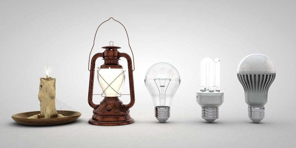 imagem: evolução da iluminação ao longo dos séculos