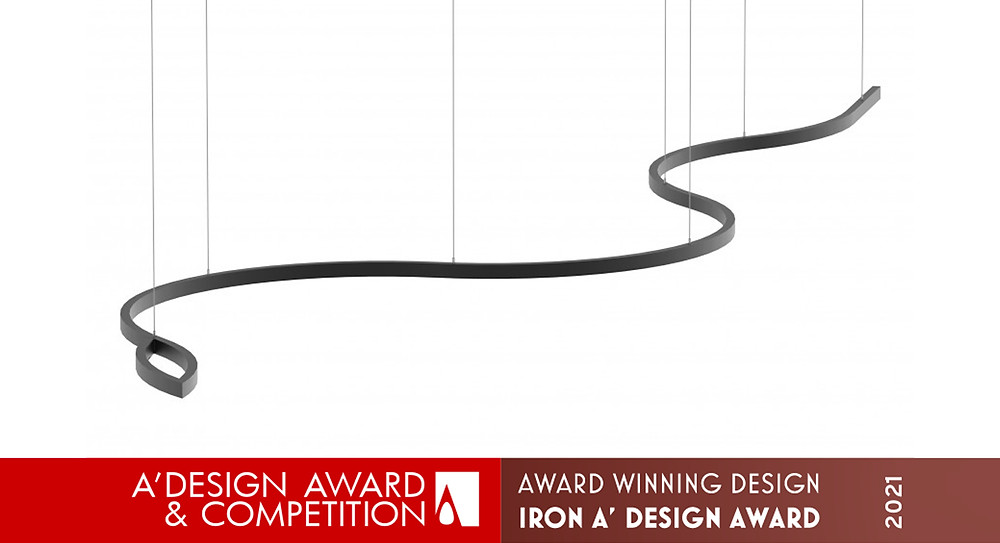 Luminária em formato de cobra com luz direta idealizada e realizada pela Tromilux vencedora do prémio A' Design Award