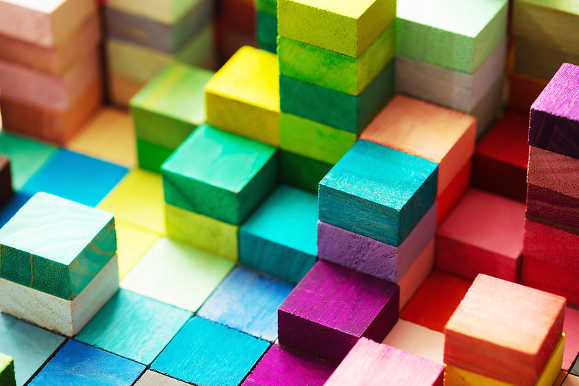 Spectrum of stacked multi-colored wooden