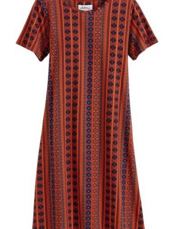 Vertical Print Cotton Knit A-Line Dress