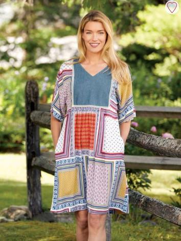 Patchwork Print Rayon Dress
