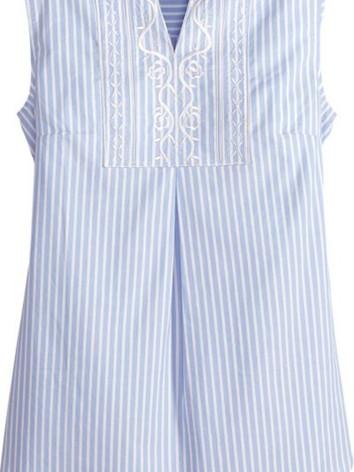 Ella Simone Embroidered Striped Sleeveless Top