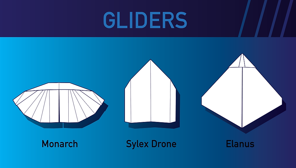Three glider paper airplanes