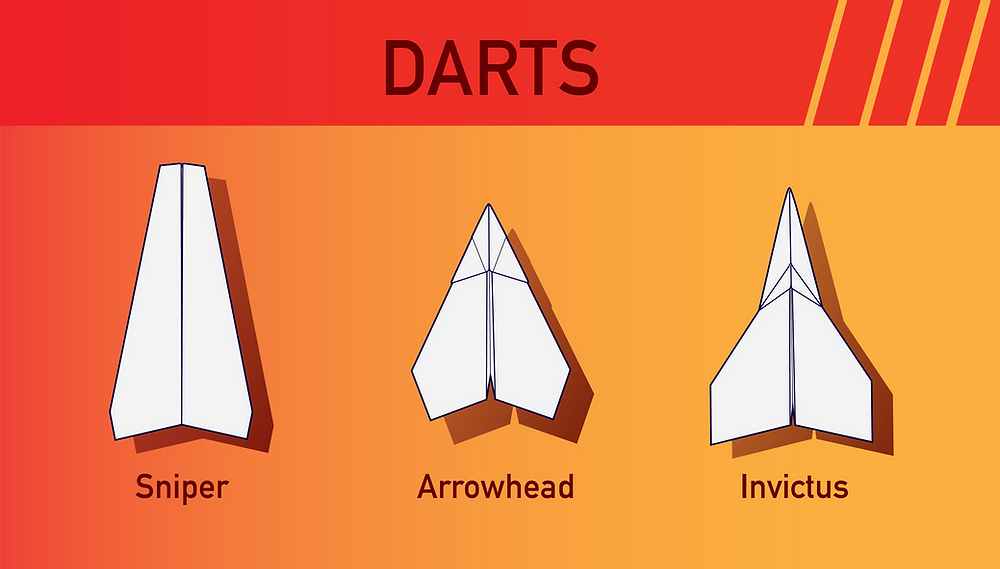 Three dart paper airplanes