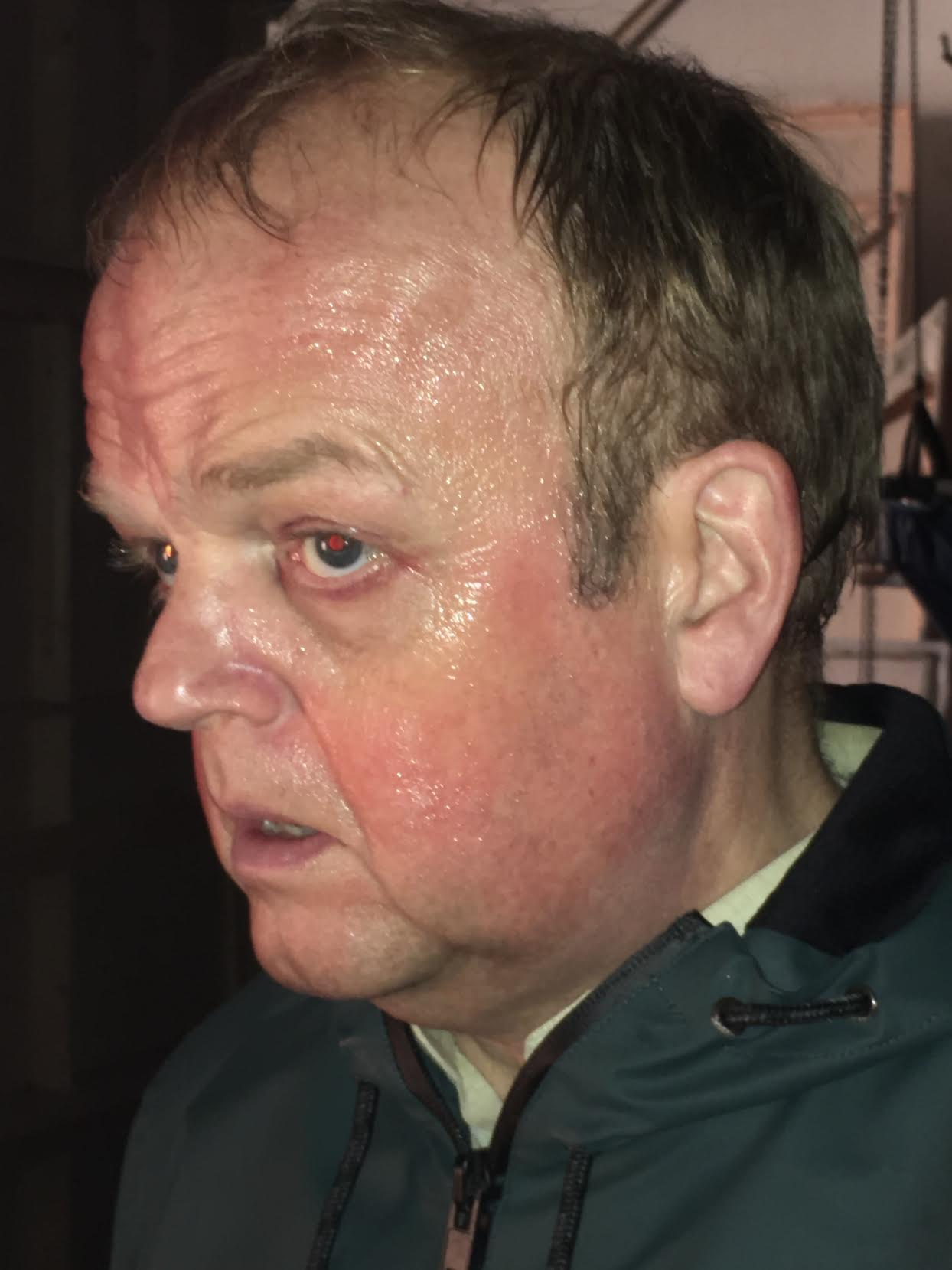 Red and sweaty makeup, Toby Jones