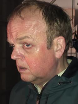 Red and sweaty makeup, Toby Jones