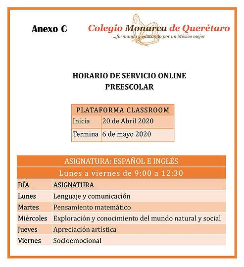 HORARIOS DE SERVICIO ON LINE- PREESCOLAR