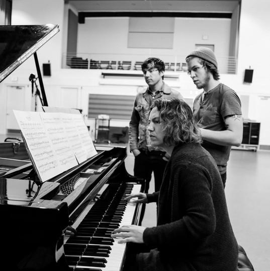 recording piano in the studio