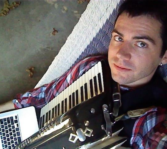 practicing the accordion