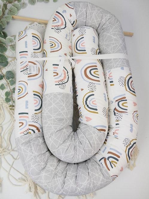 """Bettrolle """"Regenbogenliebe kombiniert mit Baumwolle Striche hellgrau"""" 3 Meter"""