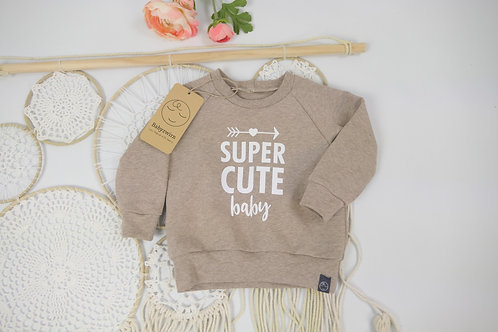 "Sweater hellbraun ""super cute Baby"" Gr 68"