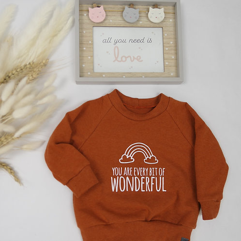 """Sweater terracotta """"You are every bit of wonderful"""" Gr. 68"""