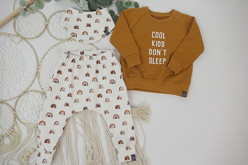 "Set Sweater, Halstuch + Slim Harenpants Größe 74 ""cool kids don't sleep Curry"""