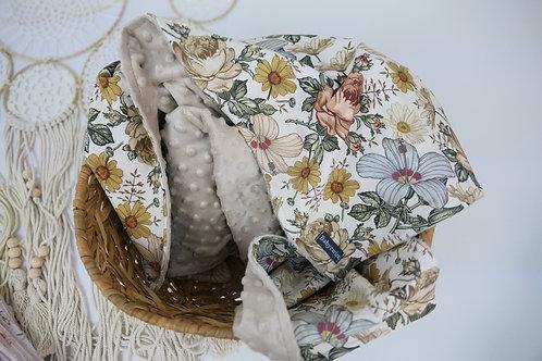 Babydecke Vintage Flowers +  Minky Hellbraun
