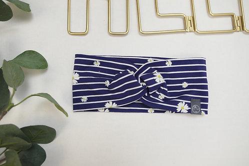 verdrehtes Stirnband KU 47 dunkelblau gestreift mit Gänseblümchen