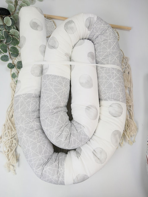 """Bettrolle """"Kreise kombiniert mit Baumwolle Striche hellgrau"""" 3 Meter"""