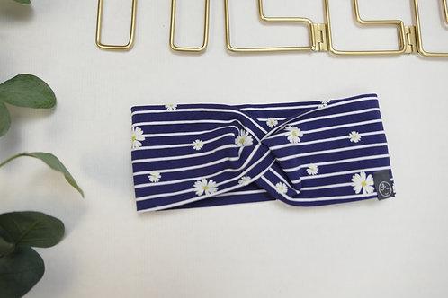 verdrehtes Stirnband KU 46 dunkelblau gestreift mit Gänseblümchen