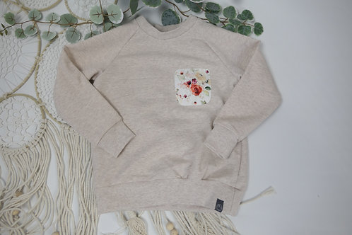 Sweater hellbeige Applikation Rosen 98