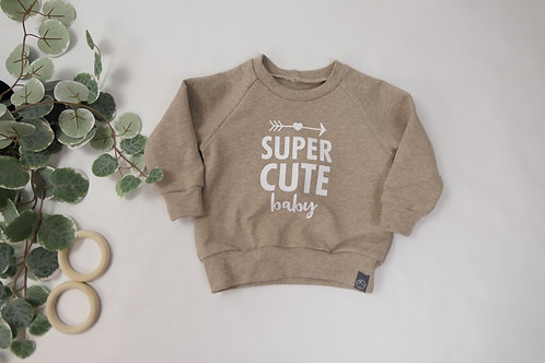 "Sweater Hellbraun ""Super cute Baby"""