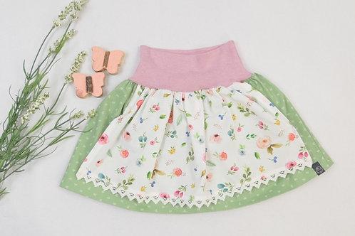 "Dirndlrock ""grün mit Frühlingsblumen""(Bündchen rosa) Größe 62"