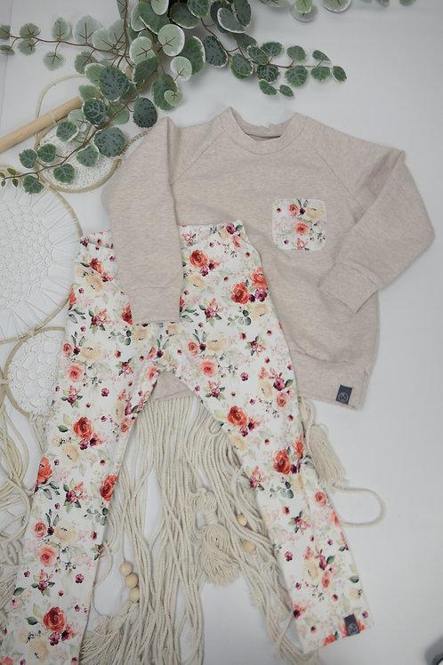 Sweater + Leggins  (hellbeige+ Rosen) Größe 80