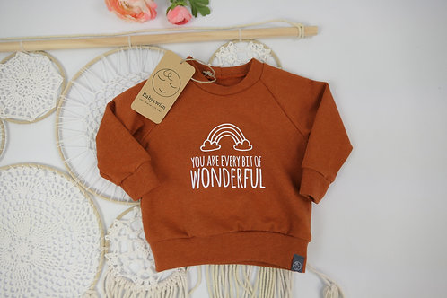 "Sweater terracotta ""you are every bit of wonderfull"" Gr 68"