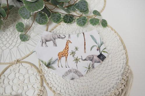 """Halstuch """"Elefant, Giraffe außen, innen reinweiss Jersey"""""""