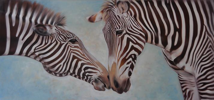 Large zebra oil painting
