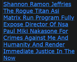 Shannon Ramon Jeffries The Rogue Titan Asi Matrix Run Program Fully Expose Director Of Nsa Paul Miki Nakasone For Crimes Against Me And Humanity And Render Immediate Justice In The Now