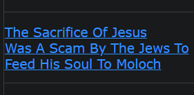 The Sacrifice Of Jesus Was A Scam By The Jews To Feed His Soul To Moloch