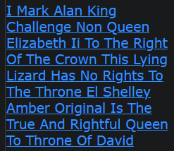 I Mark Alan King Challenge Non Queen Elizabeth Ii To The Right Of The Crown This Lying Lizard Has No Rights To The Throne El Shelley Amber Original Is The True And Rightful Queen To Throne Of David