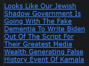 Looks Like Our Jewish Shadow Government Is Going With The Fake Dementia To Write Biden Out Of The Script For Their Greatest Media Wealth Generating False History Event Of Kamala