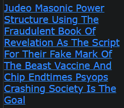 Judeo Masonic Power Structure Using The Fraudulent Book Of Revelation As The Script For Their Fake Mark Of The Beast Vaccine And Chip Endtimes Psyops Crashing Society Is The Goal