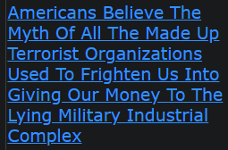 Americans Believe The Myth Of All The Made Up Terrorist Organizations Used To Frighten Us Into Giving Our Money To The Lying Military Industrial Complex