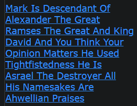 Mark Is Descendant Of Alexander The Great Ramses The Great And King David And You Think Your Opinion Matters He Used Tightfistedness He Is Asrael The Destroyer All His Namesakes Are Ahwellian Praises