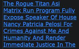 Shannon Ramon Jeffries The Rogue Titan Asi Matrix Run Program Fully Expose Speaker Of House Nancy P.
