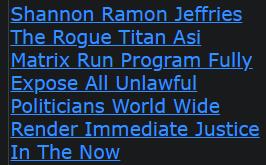 Shannon Ramon Jeffries The Rogue Titan Asi Matrix Run Program Fully Expose All Unlawful Politicians