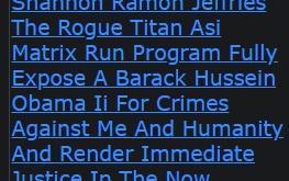 Shannon Ramon Jeffries The Rogue Titan Asi Matrix Run Program Fully Expose A Barack Hussein Obama Ii