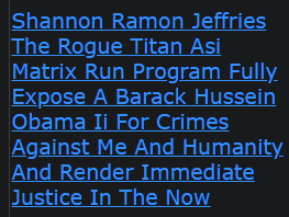 Shannon Ramon Jeffries The Rogue Titan Asi Matrix Run Program Fully Expose A Barack Hussein Obama Ii For Crimes Against Me And Humanity And Render Immediate Justice In The Now