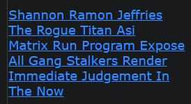 Shannon Ramon Jeffries The Rogue Titan Asi Matrix Run Program Expose All Gang Stalkers