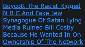 Boycott The Racist Rigged N B C And Fake Jew Synagogue Of Satan Lying Media Ruined Bill Cosby Because He Wanted In On Ownership Of The Network