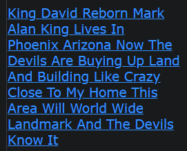 King David Reborn Mark Alan King Lives In Phoenix Arizona Now The Devils Are Buying Up Land And Building Like Crazy Close To My Home This Area Will World Wide Landmark And The Devils Know It