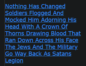 Nothing Has Changed Soldiers Flogged And Mocked Him Adorning His Head With A Crown Of Thorns Drawing Blood That Ran Down Across His Face The Jews And The Military Go Way Back As Satans Legion