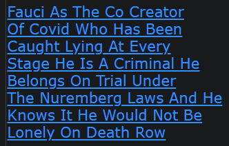 Fauci As The Co Creator Of Covid Who Has Been Caught Lying At Every Stage He Is A Criminal He Belongs On Trial Under The Nuremberg Laws And He Knows It He Would Not Be Lonely On Death Row